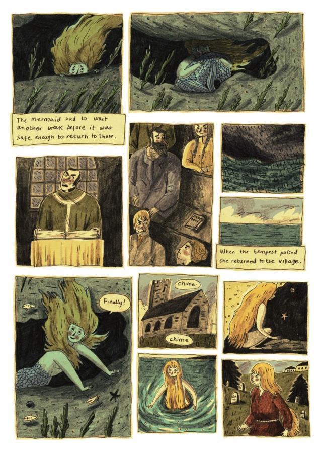 """""""A sereia teve que esperar outra semana antes que fosse seguro retornar à costa. Quando a tempestade passou, ela retornou para o vilarejo. -Finalmente! [badaladas]"""""""
