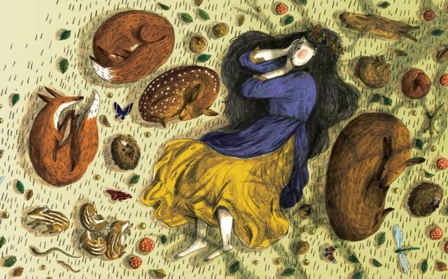 """Ilustração para o """"Falmouth Illustration's 'Book of Illustrated Quotes & Sayings"""" - a citação da página era """"There sleeps Titania sometime of the night."""""""
